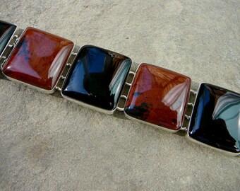 Obsidian Bracelet, Taxco Silver Bracelet, Taxco Bracelet, Silver Link Bracelet, Taxco Jewelry, Obsidian Jewelry, Taxco Silver, Taxco