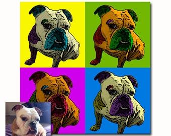 Pet portrait from picture digital - bright pop art colors