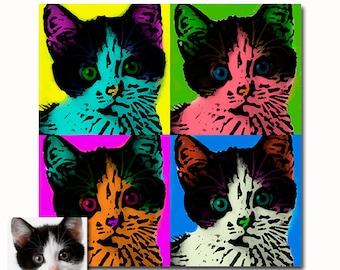 Personalized pet cat portrait Pop art - your picture - digital - set of four (4)