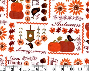 1 Yard, Harvest Blessings Sayings on White
