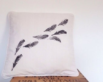 SALE Hand print pillow // feather lino printed // square throw cushion // organic cotton UK seller