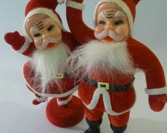 Vintage Santa Collection of 2 50's Flocked Plastic Santa Claus Decorations Red Suits White Fluffy Beards 9 1/2""