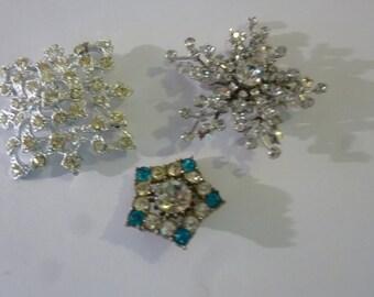 Vintage Rhinestone Brooch Collection Set of 3 Sparkly Starburst Pins 1960's