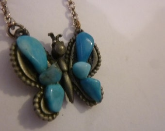 Vintage Butterfly Necklace 70's Hippie Child Pewter and Turquoise Pendant