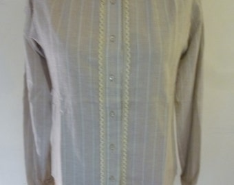 Mod Pin Stripe Blouse Preppy Cotton Button Down Ecru Lace Edgeing 70's Ellen Tracy Junior Secretary Office Attire Size M Dead Stock