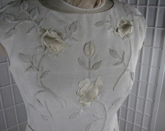 1960s Gorgeous Hand Beaded Ivory Linen Dress......size 10......  Dimensional Satin Appliqued Flowers