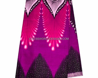 Wholesale Plume African fabric/ Java African Fabric/ African print/ Tissue Africain/ Purple/pink 6 yards WP860