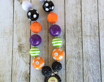 Too Cute To Spook Halloween Chunky beaded necklace