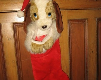 Vintage Christmas stocking. Plush dog cocker spaniel 70 years. Christmas decoration.