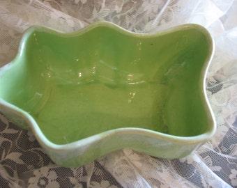 Mint green ceramic planter U.S.A dish or planter. Planter. Plant.
