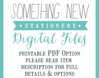 Printable Personalised Stationery - DIY OPTION PDF Files only