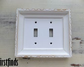 Double Switch Plate Framed Shabby Chic White Lite Electrical Fancy Cottage Painted Cover Vintage Plastic Wood Wall Light Decor DETAILS BELOW