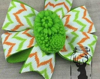 White, Orange, Lime Green Chevron with Floral Resin Hair Bow