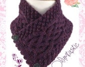 Irish Celtic Neck Warmer Purple Baby Alpaca Trinity Stitch Cable - Small/Med
