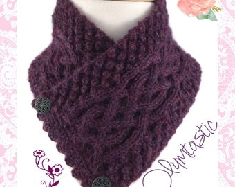 Irish Celtic Neck Warmer Purple Baby Alpaca Trinity Stitch Cable - Small/Med