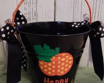 Pumpkin Black Metal Halloween Bucket-Chevron or Polka Dot