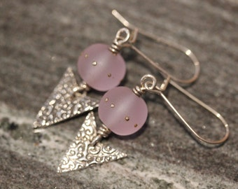 Lt. Lavender  Etched Lampwork Bead  PMC Texture Earrings