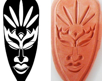 Design Stamp for PMC Ceramic Clay Textiles and Scrap Booking - Tiki Mask Design Stamp - Tribal Mask Design Stamp - PMC African Design Stamp