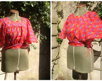 Vintage 1970s Boho Festival Butterfly Batwing Sleeve Blouse/Belly Top with Pattern by Barry Artist - SMALL/MEDIUM - Coachella