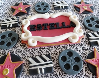 Party package - 1 fondant name plaque (cake topper) and 12 cupcake toppers - Hollywood/Movie/Oscar themed party