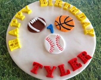 "6"" Fondant edible cake topper - Sport theme-sport event-basketball,baseball,football,soccerball,tennisball,all stars, golf"