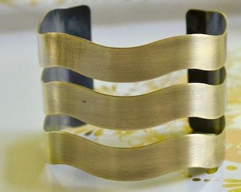 Wavy Vintage Brass Cuff Bracelet