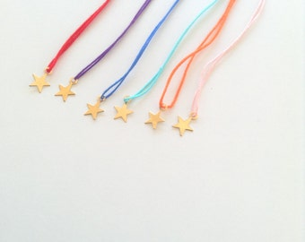 Tiny Star wish bracelet, String bracelet, Friendship bracelet, Bridesmaids gift