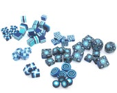 SPECIAL BEADS SALE, blue, turquoise and white beads, round flat beads, square beads, cube beads, spiral beads, Set of 60 spacer clay beads