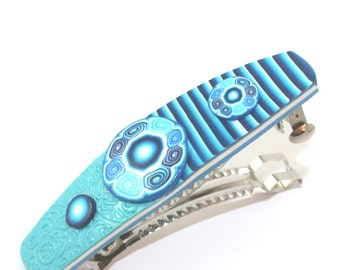Blue elegant barrette, turquoise unique barrette, polymer clay barrette, dark blue and white, spiral and stripes hair jewelry barrette