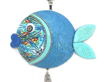 Handmade blue fish wall decor, lucky fish, fish of fortune, Polymer clay handmade fish in blue, turquoise, green, white and silver