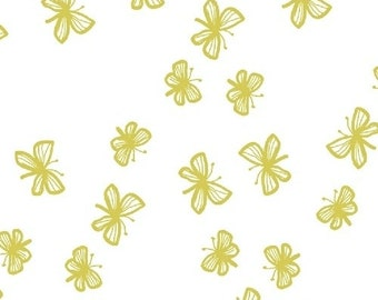 SALE Citrus Faril by Lotta Jansdotter 1/2 Yard Stella Collection for  Windham Fabric - Lotta Jansdotter - Citron Butterfly Fabric White