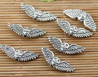 24pcs tibetan silver tone 2sided skull wing bead EF1782