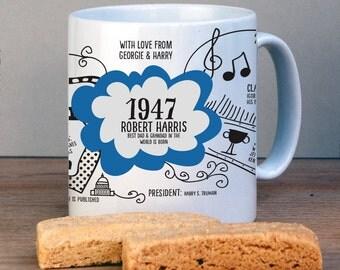 Personalised 1947 Birthday Mug For 70th Birthday-USA History Version-1947 Birthday Gift-Personalised Birthday Gift-70th Gift-Gift for Mum