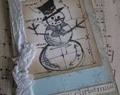 handmade vintage style snowman card in icy blue