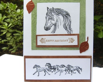 Horse Design Birthday Card with Stamped Images and Embellishment Includes White Envelope for Delivery Handmade Birthday Card