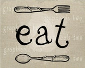 Fork spoon EAT sign Instant digital download image for iron on fabric transfer burlap decoupage scrapbooks pillows cards totes No. gt151