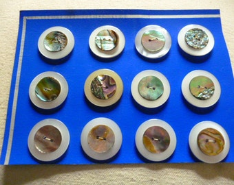 Vintage Buttons 12 Mother of Pearl on White Plastic 1960s unused Buttons.
