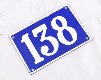 Vintage Traditional French Enamel House Number Plate Number 138 in Blue with White Colored Numbers / Decor / Porcelain Sign / Retro Interior