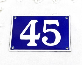 Vintage Traditional French Enamel House Number Plate Number 45 in Blue with White Colored Numbers / Decor / Porcelain Sign / Retro Interior