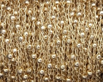 5FT (1.5mt) Gold Filled chain , Satellite chain links 1.6mm , Gold fill Satellite chain , gold curb ball Beaded satellite chain bulk