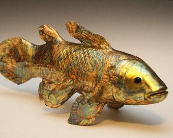 Fish Sculpture,Coelacanth Fish,Gold Leaf, Ceramic Fish,Gold Leaf Sculpture,Art and Collectibles,Home Decor,