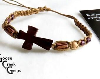 Sideways Wood Cross Macramé Bracelet- Religious Jewelry- Faith Bracelet