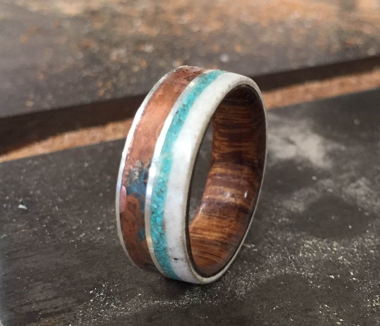 Mens Wedding Band Wood Lined With Patina Coppper Antler