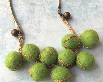 Felt Beaded Necklace - felt jewelry - green and golden - bib necklace -lime green felt -short necklace - gift for her -textile necklace
