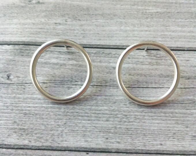 Silver earrings open circle -geometric minimalist earrings -stud circle earrings-hoop earrings- gift for her - silver stud ring earrings -