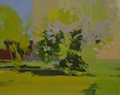 Sky painting, green landscape painting, city painting canvas, abstract art canvas contemporary landscape impressionist oil painting