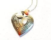big heart locket necklace- romantic jewelry- romantic locket- keepsake necklace- heart locket