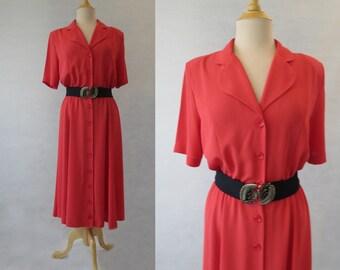 Red Shirt Waist Dress