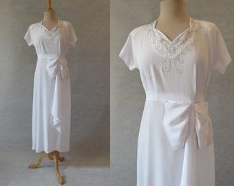 Beaded White Dress - 1940s
