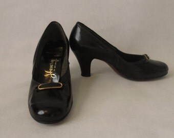 Black Patent Leather Shoes, Pumps  - Dead Stock - 1950s